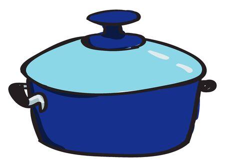 Blue saucepan, illustration, vector on white background.
