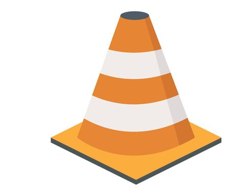 Traffic cone, illustration, vector on white background. Banco de Imagens - 132847055