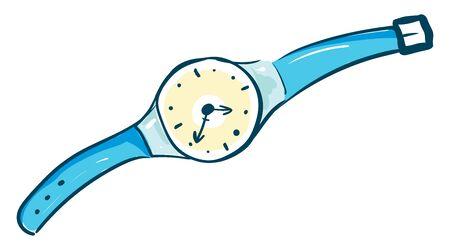 Blue wristwatch, illustration, vector on white background. Çizim
