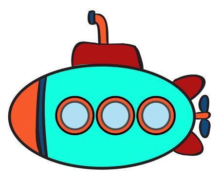 Submarine, illustration, vector on white background. Illusztráció