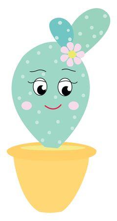Happy cactus, illustration, vector on white background.
