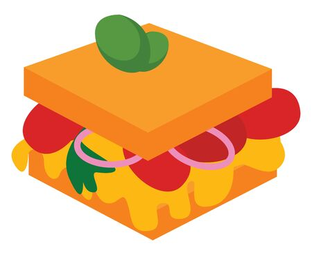 Sandwich, illustration, vector on white background.