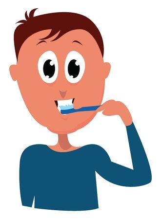 Brushing teeth, illustration, vector on white background.