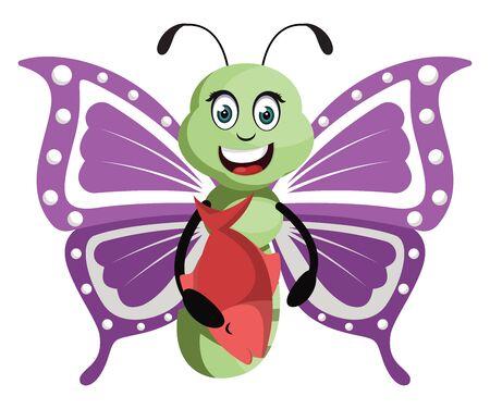Butterfly with fish, illustration, vector on white background. Ilustração