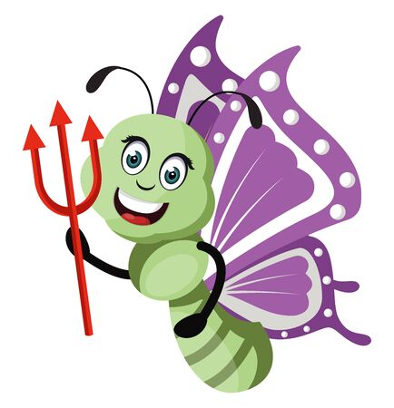 Butterfly with devil spear, illustration, vector on white background.