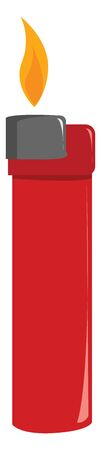 Red lighter, illustration, vector on white background.