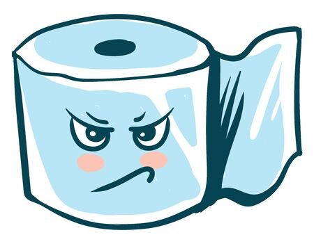 Angry toilet paper, illustration, vector on white background. Illustration