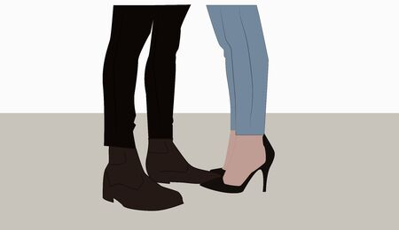 Couples feet, illustration, vector on white background. Standard-Bild - 132848011