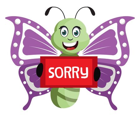 Butterfly with sorry sign, illustration, vector on white background.