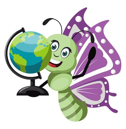 Butterfly with globe, illustration, vector on white background. 일러스트