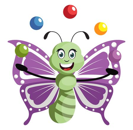 Butterfly juggling, illustration, vector on white background. Illustration