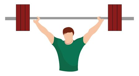 Weightlifter, illustration, vector on white background.