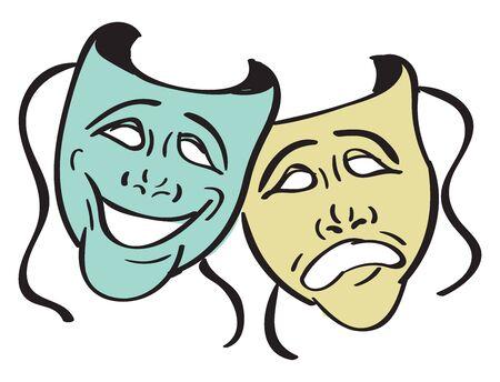 Theater masks, illustration, vector on white background.