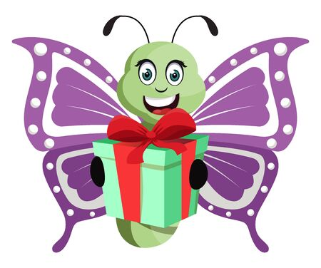 Butterfly with birthday present, illustration, vector on white background.