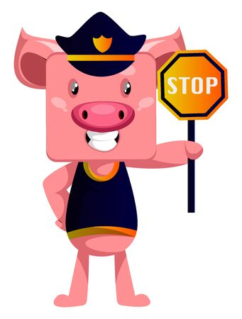 Pig with stop sign, illustration, vector on white background.