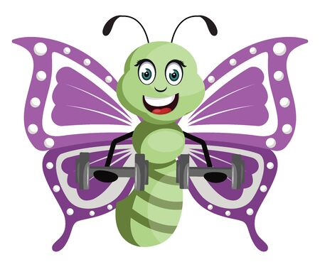 Butterfly with weights, illustration, vector on white background.
