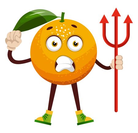 Orange with devil spear, illustration, vector on white background. Stock Illustratie