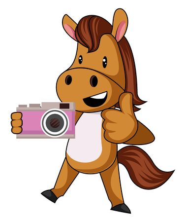 Horse with camera, illustration, vector on white background.