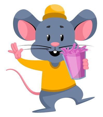 Mouse with juice, illustration, vector on white background. Illustration