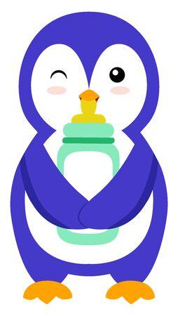 Penguin with bottle, illustration, vector on white background. Vettoriali