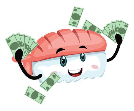 Sushi with money, illustration, vector on white background. Illusztráció
