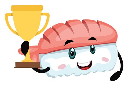 Sushi with trophy, illustration, vector on white background.