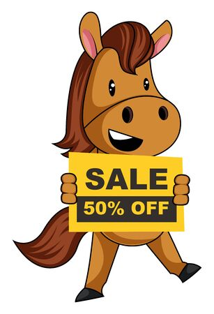Horse with sale sign, illustration, vector on white background.