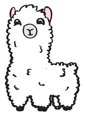 Cute lama, illustration, vector on white background. Ilustrace