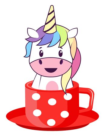 Unicorn in pot, illustration, vector on white background.