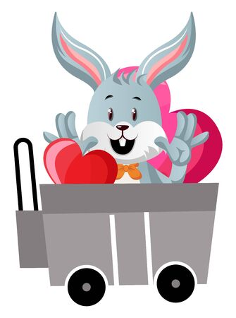 Bunny in shopping cart, illustration, vector on white background.