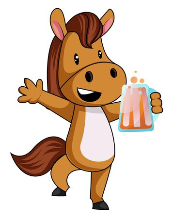 Horse with beer, illustration, vector on white background.