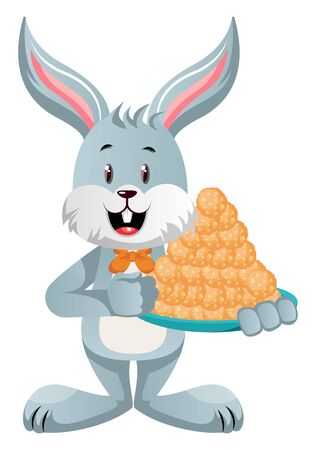 Bunny with cookies, illustration, vector on white background.