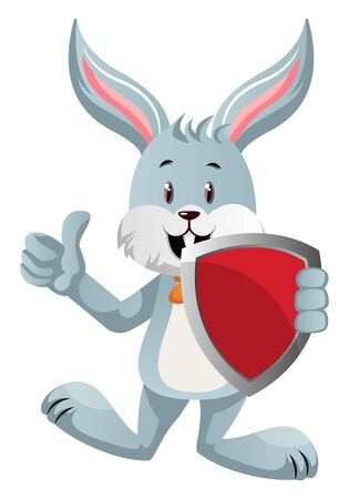 Bunny with red shield, illustration, vector on white background.