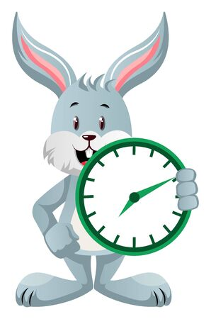Bunny with clock, illustration, vector on white background. Vectores