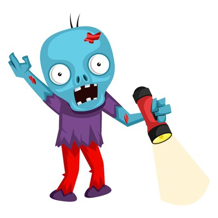 Zombie with flashlight, illustration, vector on white background.