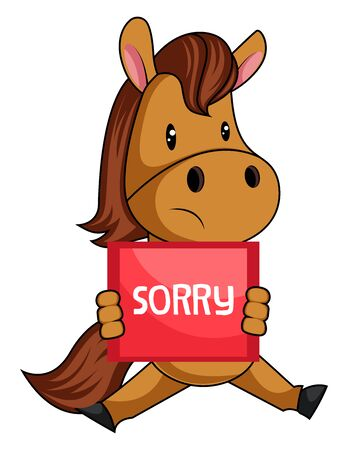 Horse is sorry, illustration, vector on white background.