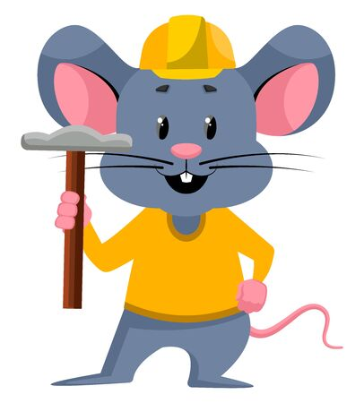 Mouse with hammer, illustration, vector on white background. Stock Illustratie