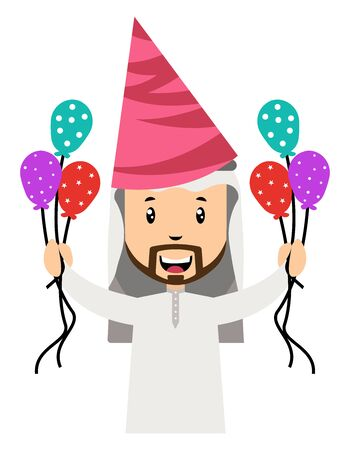 Arab men with balloons, illustration, vector on white background. 일러스트