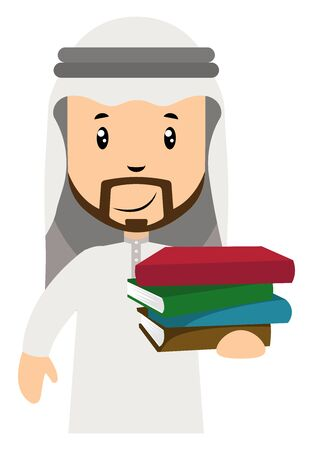 Arab men with books, illustration, vector on white background.