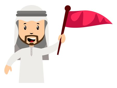 Arab men with red flag, illustration, vector on white background.