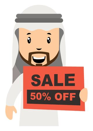 Arab men with sale sign, illustration, vector on white background.