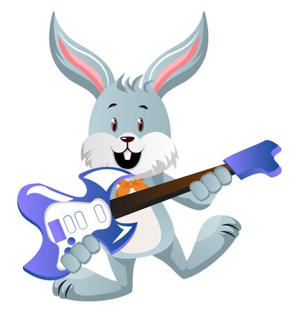 Bunny with guitar, illustration, vector on white background.