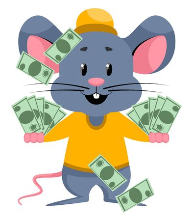 Mouse with bags of money, illustration, vector on white background. 向量圖像