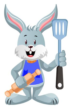 Bunny with rolling pin, illustration, vector on white background.