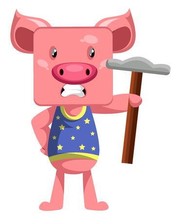 Pig with hammer, illustration, vector on white background.