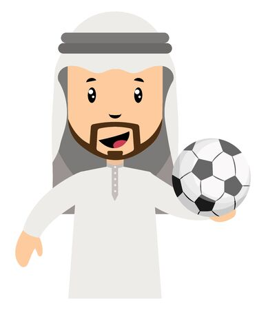 Arab men with football, illustration, vector on white background. Illustration