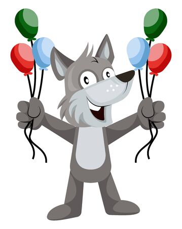 Wolf with balloons, illustration, vector on white background.