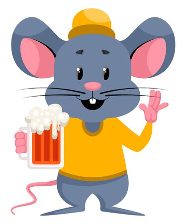 Mouse with beer, illustration, vector on white background.