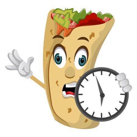 Burrito with clock, illustration, vector on white background.