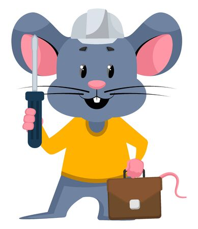 Mouse with tools, illustration, vector on white background.
